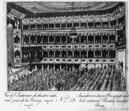 Wien, Altes Burgtheater, Innen / Kupfer - Vienna, Old Burgtheater, Interior / Cop. -